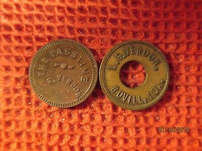 2 Bovill, Idaho Round Brass Trade Token