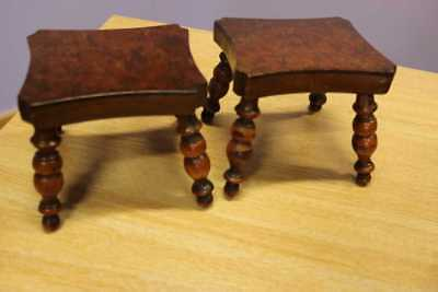 A Pair of Early 1800's Lacemakers Candlestick Stands Burr Walnut/Fruit Wood Rare