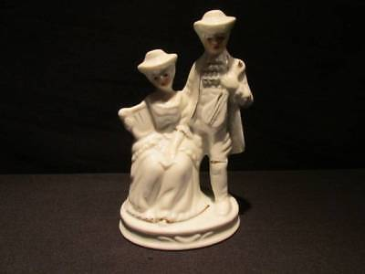 Lady Angela Vintage Signed Figurine Couple with Instruments white with gold