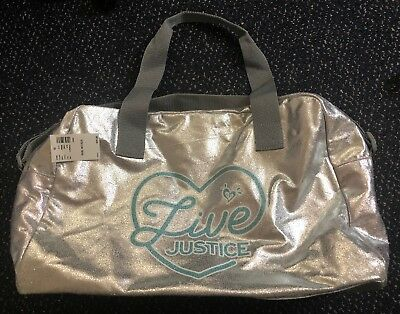 NWT Justice Live Silver Metallic Duffel Tote Bag New (retail $26.90)