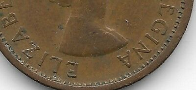 1964 Canadian Canada Penny One Cent Missing MG Rare Mint Error Coin