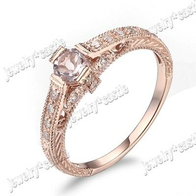 Full Cut Diamonds Morganite Jewelry Vintage Wedding Ring 925 Sterling Sliver