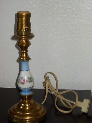 "Small 10 3/4"" Inch Vintage Brass & Hand Painted Porcelain Table Lamp Night Light"