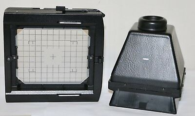 Cambo 4x5 Rear Viewing Panel + C-43 Rule Lined Ground Glass + Focus Hood  NICE