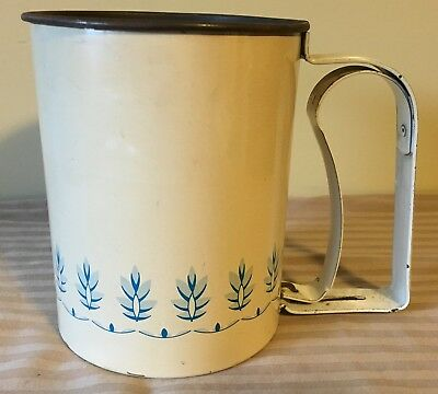 Vintage Androck Flour Sifter Off White Blue Design Pattern Made in USA Metal