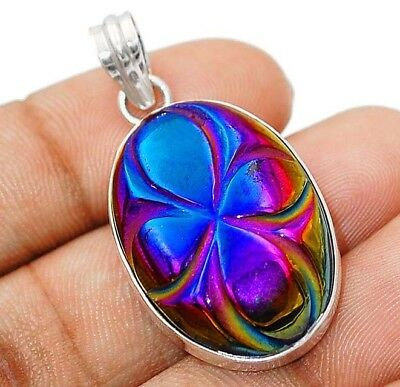 HAND CARVED TITANIUM DRUZY 925 Solid Sterling Silver Pendant Jewelry , H9-5