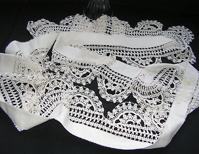 B'ful Antique Decorative Hand Worked Lace Trim From Tablecloth