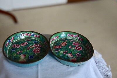 Chinese Enamelled Cloisonne Oval Trinket Pin Ashtray Dishes