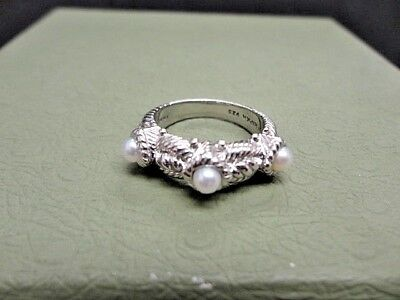 Judith Ripka Sterling Silver 3 Station Stackable Triple Pearl Rope Band Ring  6