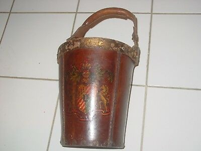 Antique Leather Pail Fire Bucket Firefighter Made In Spain Vintage Handle Stud