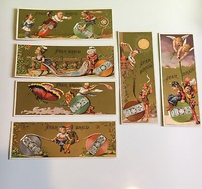 Victorian Era Trade Cards -Lot of 6-The STAR BRAIDS by S.B.&M. Fleisher Phila,PA