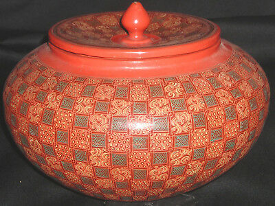NEAT Antique Golden Triangle Lacquerware Rice Server covered bowl hand crafted R