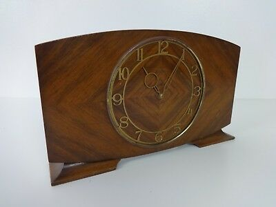 Smiths Clocks 8 Day Mid Century Mantel Brown Wood Wind Up Mechanical Clock