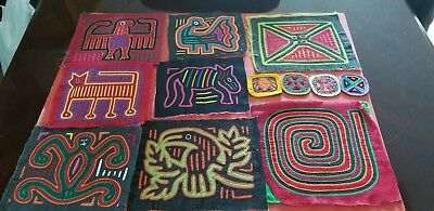 Reverse Applique Small Molas By The Kuna Indians Of The San Blas Islands.