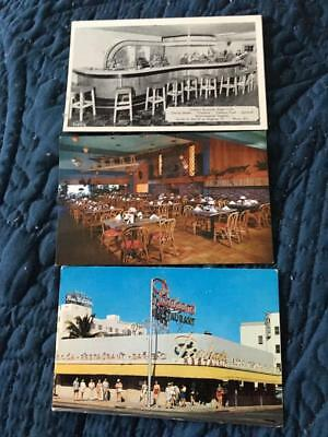 Lot of 3 roadside restaurant postcards~Cincinnati OH, Sacramento CA, Miami Beach