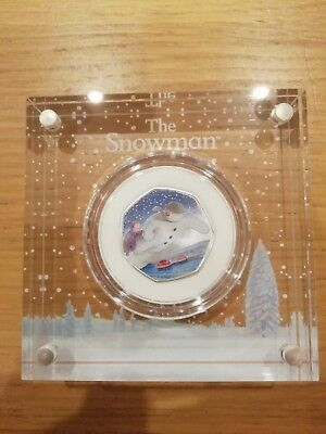 2018 Snowman Coloured Silver Proof 50p Coin.
