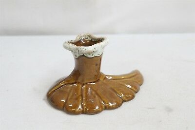 Arts Crafts Van Briggle White Drip Brown Low Leaf Pottery Candlestick