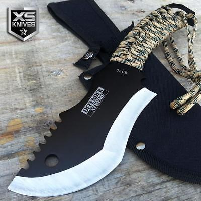"10"" SURVIVAL Full Tang TACTICAL Black Hunting FIXED BLADE Camping Knife + SHEATH"