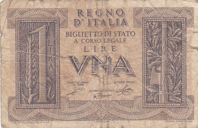 1 Lira Vg Banknote From Italy 1939!pick-26