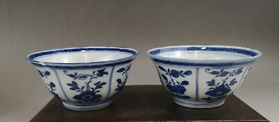 A pair of rare&beautiful Chinese 19C blue&white floral bowls-Jiaqing mark&period