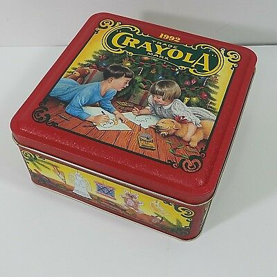 Crayola Tin 1992 Colorful Holiday Wishes Limited Edition Tin Storage USA Made