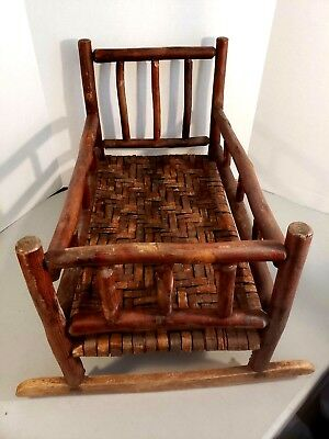 Rare Old Hickory Childs Doll Cradle W Original Bark Weaving In Very Good Cond.