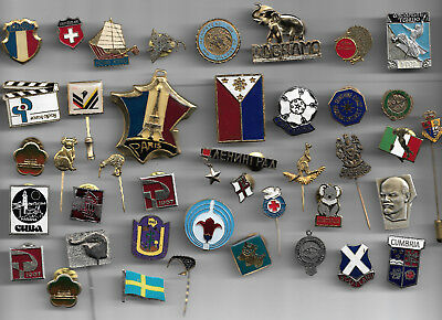 35+  misc. FOREIGN , STATE, COUNTRY, CITY  LAPEL/HAT  PINS