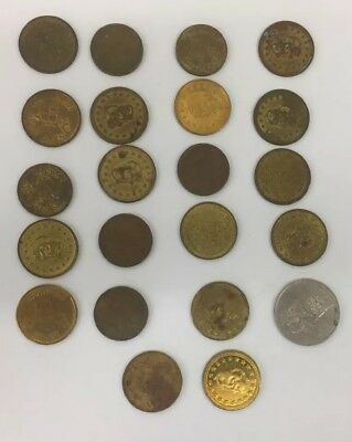 Over 20 Non Magnetic Vintage Car Wash Tokens Varied Designs Happy Cars Etc