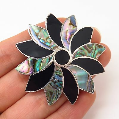 925 Sterling Silver Vintage Mexico Black Onyx & Abalone Floral Swirl Pin Brooch
