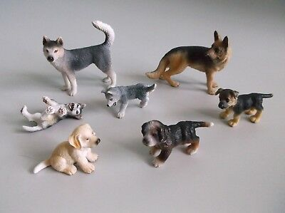 SCHLEICH Toy DOG Figures Set of 7 German Shepherd, Siberian Husky Family, MORE
