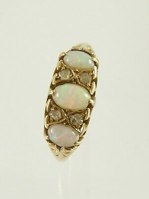 Antique Victorian 18ct 18K Gold Opal and Diamond Ring c1902
