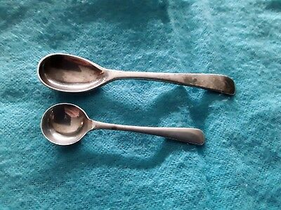 Two  Small Salt Spoons  Solid silver