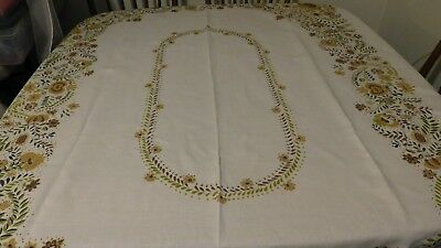 Vintage 50X66 Linen Floral Tablecloth Fall Shades Repair Cutter Crafts