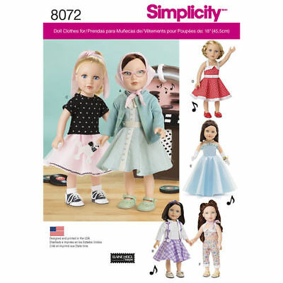 """New Simplicity 8072 Sewing Pattern for Retro  Girl 18"""" Doll Clothing"""