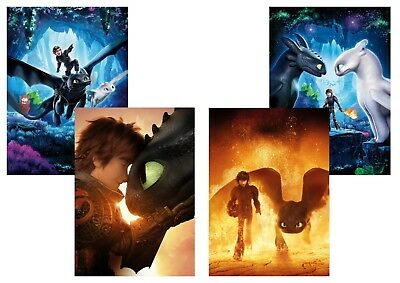 How to Train Your Dragon: The Hidden World  A5 A4 A3 Textless Movie Posters