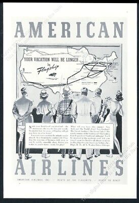 1939 American Airlines USA system map art vintage print ad