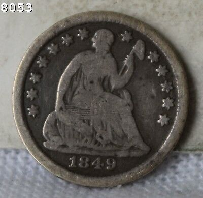 """1849/8 Liberty Seated Half Dime """"Fine"""" *Free SH After 1st Item*"""
