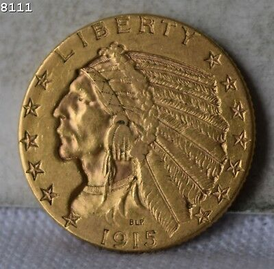 """1915-S Indian Head Gold Half Eagle $5 """"XF"""" *Free S/H After 1st Item*"""