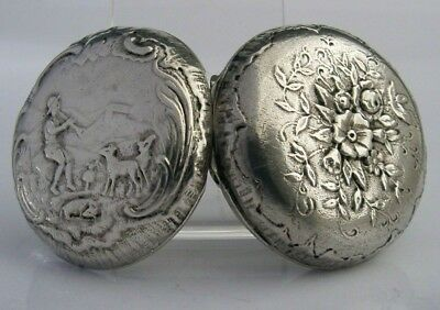FRENCH SOLID SILVER SHEPHERD SCENE SNUFF or PILL BOX c1900 ANTIQUE