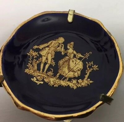 Elegant Limoges France Miniature Deep Blue Gold Couple Plate With Stand