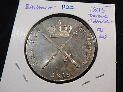 H22 German State Bavaria 1815 Double Thaler Choice AU