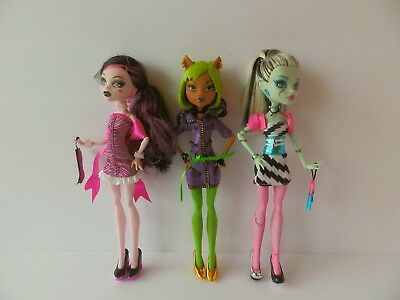 Mattel ~ Monster High ~ Dawn of the Dance ~ Draculaura Clawdeen Frankie Dolls ~