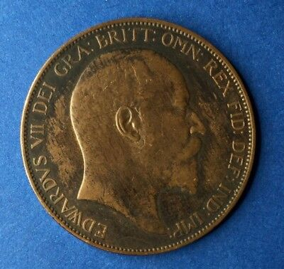 1907 Great Britain Penny King Edward VII Vintage 30.8mm British Bronze Coin