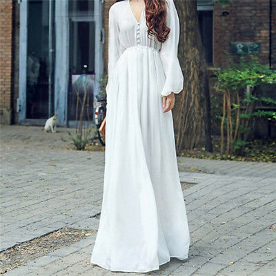 Women Summer Boho Chiffon Sexy V Neck White Casual Long Maxi Dress LG