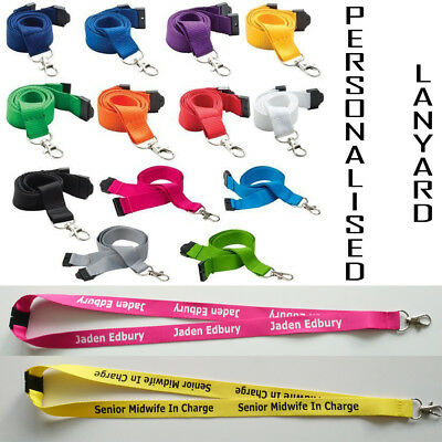 Personalised or plain neck strap lanyard custom printed 13colours with your text