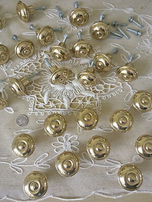 24 Premium Solid BRASS Cabinet Knobs Pulls Classic Round Button Gold Vintage