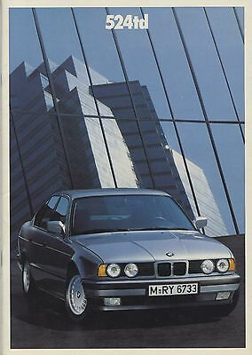 BMW - 524TD Turbo Diesel brochure/prospekt/folder Dutch 1988