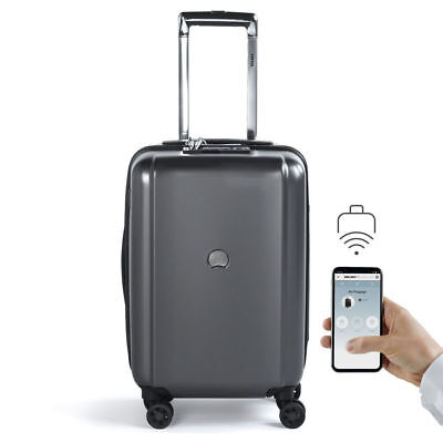 """Delsey Pluggage Smart Luggage 19"""" International Spinner Carry-on Black"""