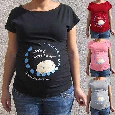1PC Letter Printed Tops Funny T shirts Pregnant Shirts Announce Pregnancy Month