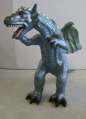 Toy Major Rubber Dragon Metallic Blue Gold Standing Figure 2007 Medieval Monster Action Figures